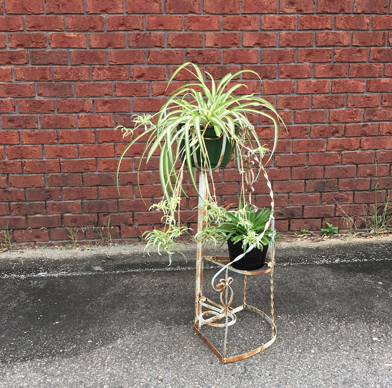Wrought Iron Staircase Plant Stand, Chippy White Plant Holder, Shabby Plant  Stand, French Country Metal Plant Stand, Wedding Decor