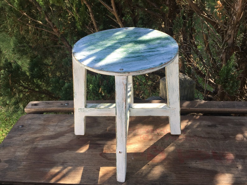Tremendous Wooden Step Stool Off White Distressed Round Stool Farmhouse Decor Shabby Kitchen Foot Stool Timeout Stool Display Shelf Or Riser Pabps2019 Chair Design Images Pabps2019Com