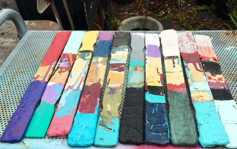 10 Painted Paint Stirring Sticks Colorful Wooden Paint Sticks Salvaged Art Supply Altered Art Sculpture Repurpose Collage Assemblage