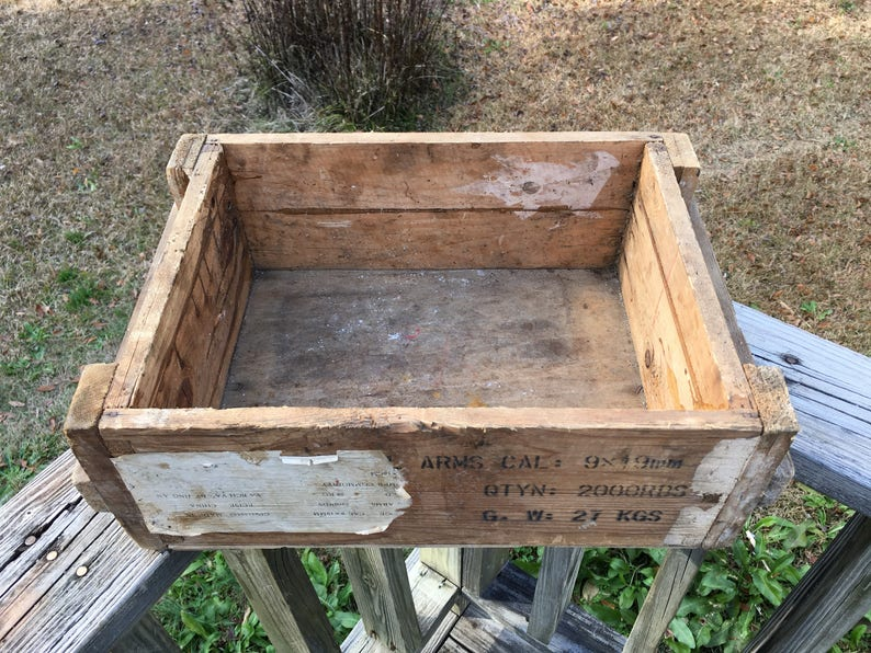 Antique Wooden Ammo Crate Creative Vintage Storage Old Wood Ammunition Box Military Collectible Wood Crate Man Cave Decor Gift For Him