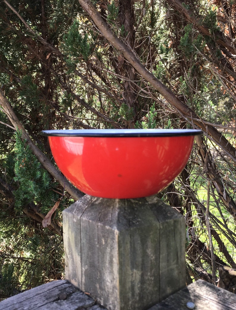 Primitive Enamelware Bowl Red Enamelware Bowl French Country Vintage Red Enamel Bowl Farmhouse Style Vintage Christmas Bowl