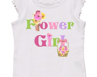 Wedding  Flower Girl Tshirt by Mumsy Goose girly tee's Perfect for Wedding Rehearsals