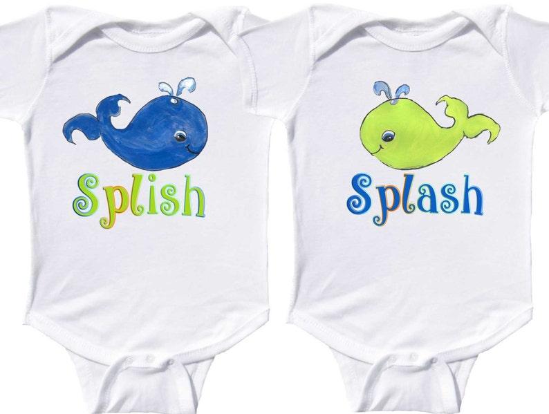 28d41665d Baby Boy Twin Bodysuits Whales Nautical Twin Shirts Newborn   Etsy