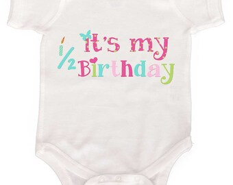 6 Month Birthday Bodysuit Girl One Piece  by Mumsy Goose Half Birthday Creeper
