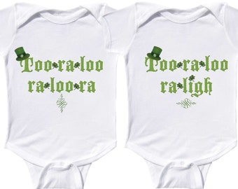 Funny Twin St. Patty's Day Bodysuits Irish Shirts  by Mumsy Goose Twin Infant Tees Newborn to Kids Tees