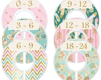 Baby Girl Closet Dividers Pink Mint Gold  Boho Nursery Decor Flowers Arrows Clothes Organizers Baby Shower Gift Baby Girl