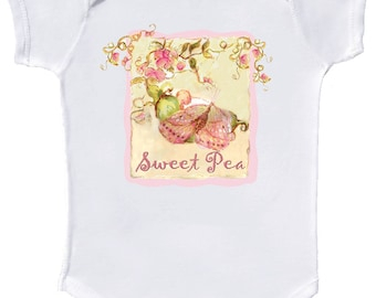 Sweet Pea Baby Bodysuit by Mumsy Goose Newborn Girl Layettes Great for  Baby Shower