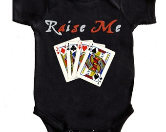 Funny Boy Bodysuit Son Romper Poker Baby Bodysuit Great for new dads  by Mumsy Goose
