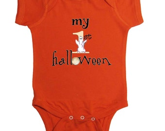 My 1st Halloween Baby Bodysuit By Mumsy Goose Newborn Romper first Halloween Pumpkin Orange Bodysuit