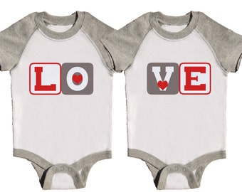 Twin Valentine Rompers Grey Raglan Bodysuit Funny Twin Rompers by Mumsy Goose Sibling Shirts