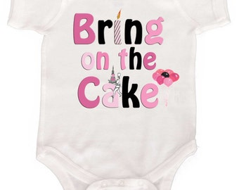 Girls First Birthday Bodysuit Bring on the Cake Pink and Black 1st Birthday Shirt  by Mumsy Goose Cake Smash Birthday Bodysuit