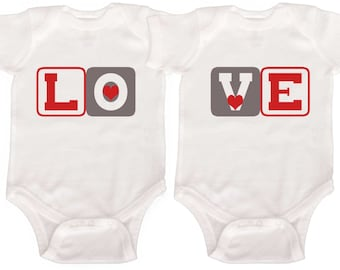 Funny Twin Valentine Bodysuits or Sibling Shirts by Mumsy Goose  Newborn Twin Outfits to Kids Tees