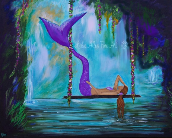 Mermaid Art Mermaid Paintings Art Prints Decor Wall Decor