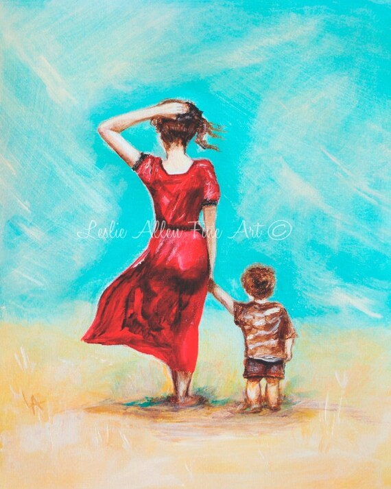 Mother Son Child Art Print Giclee Mother Little Boy Brother Etsy