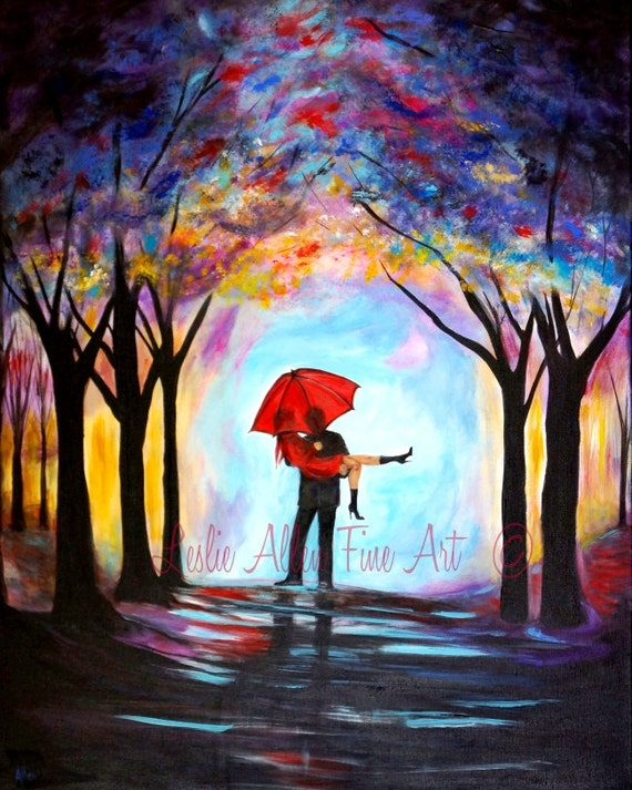 Couple Painting Couple Art Print Red Umbrella LOVE Wall ...