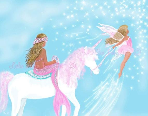 Mermaid Painting Art Print Fairy Art Unicorn Painting Faery Etsy