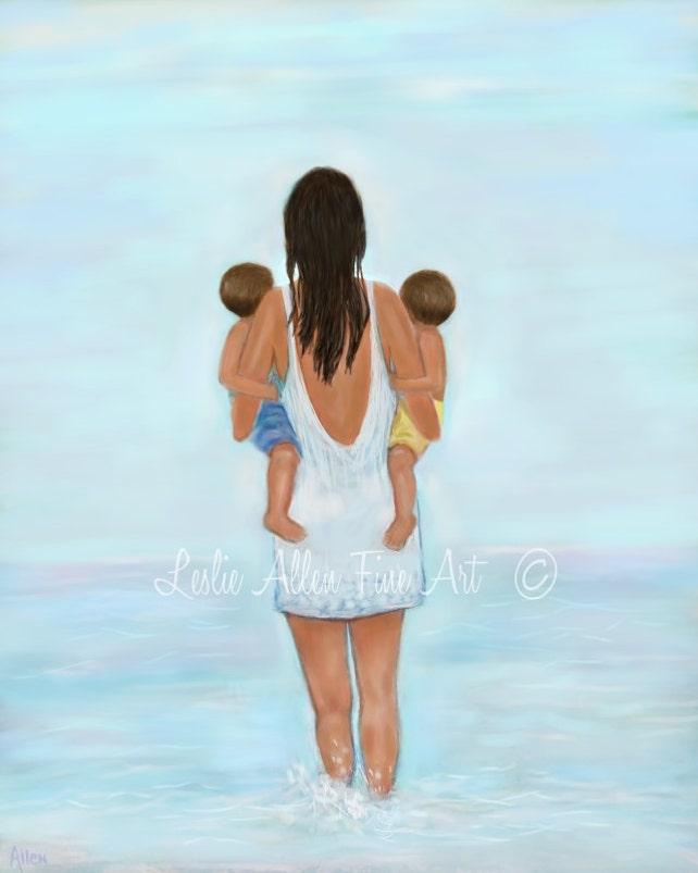 Mutter zwei jungen Söhne Kunst Druck Zwillinge Art Strand   Etsy