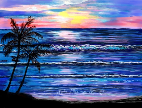 Ocean Art Print Beach Art Painting Paintings Beachs Palm