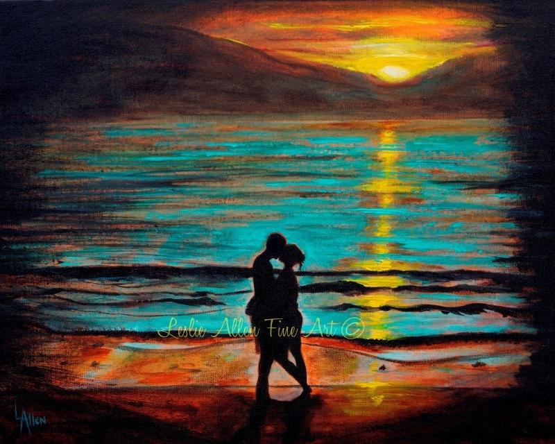 060d230d339 Couple ART PRINT GICLEE Couple Wall Art Ocean Waves Sunset