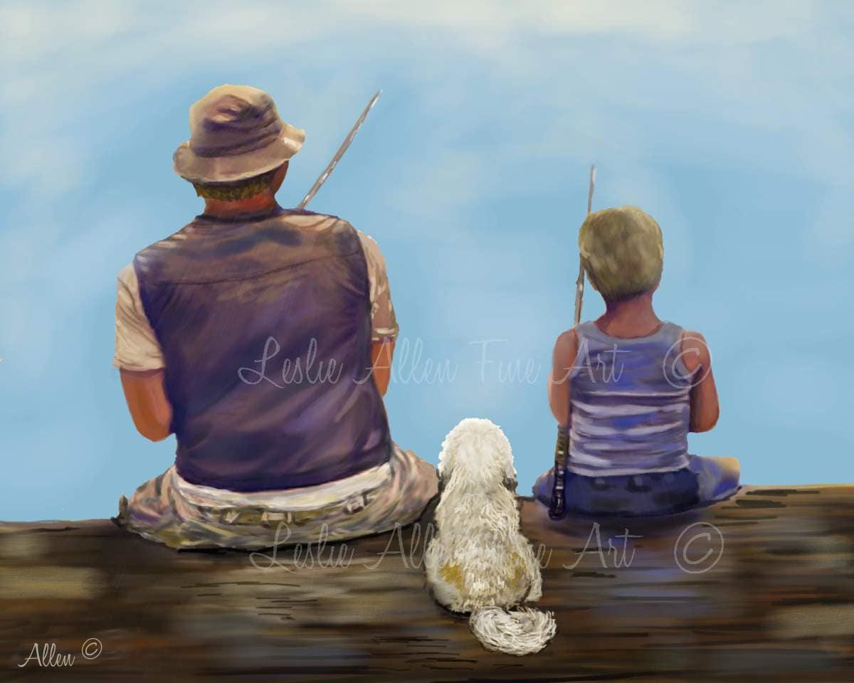 Father Son Art Print Art Grandpa Son Art Decor Dad Son
