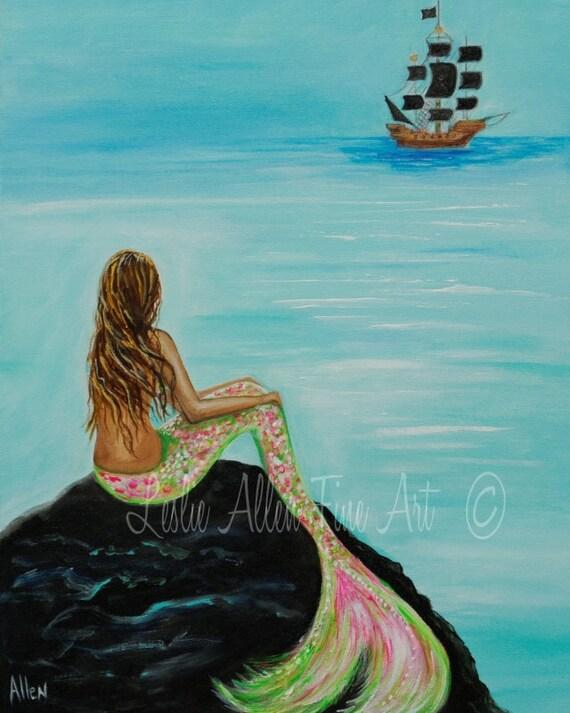 Mermaid Painting Print Mermaids Art Print Giclee Fantasy