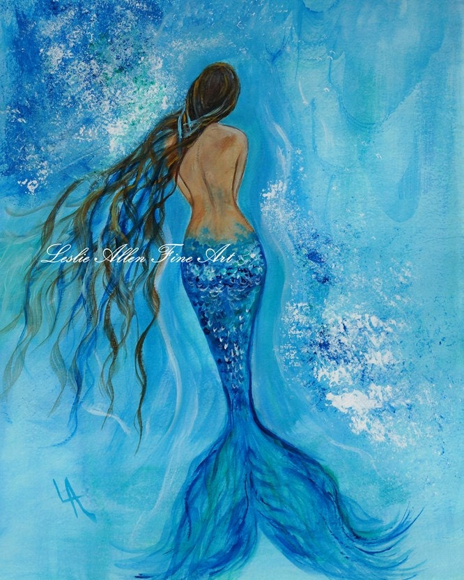 Mermaid Gifts Mermaid Decor Mermaid Art Print Mother S: Mermaid Art Print Mermaid Painting Print Mermaid Wall Art