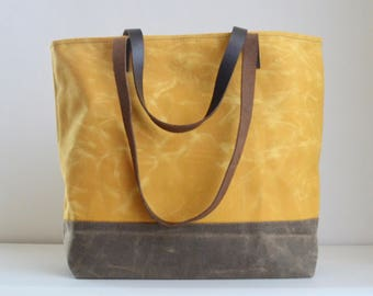 Yellow Waxed Canvas Tote Bag with Leather Straps - Ready to Ship