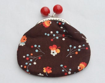Brown Posies Large Coin Purse Change Pouch with Metal Kiss Clasp Lock Frame - READY TO SHIP