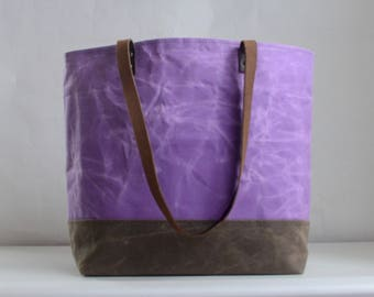 Lilac Waxed Canvas Tote Bag with Leather Straps - Ready to Ship