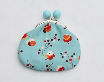 Turquoise Posies Large Coin Purse Change Pouch with Metal Kiss Clasp Lock Frame - READY TO SHIP