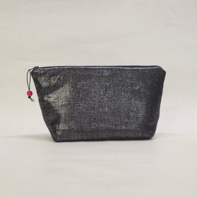 Midnight Metallic Medium Zipper Pouch Gadget Case Cosmetics image 0