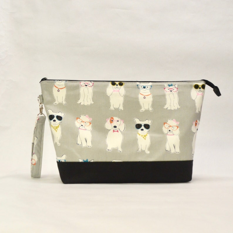 Dogs with Glasses XL Zipper Knitting Project Craft Wedge Bag image 0