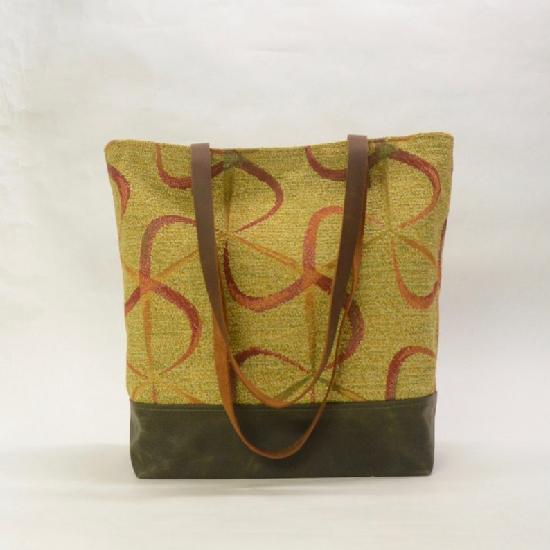 Ribbon Swirl  Waxed Canvas Tote Bag with Leather Straps