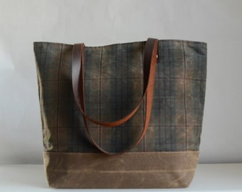 Brown Plaid Waxed Canvas Tote Bag with Leather Straps - Ready to Ship