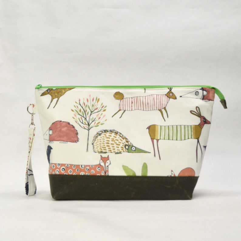 Oh Deer XL Zipper Knitting Project Craft Wedge Bag with image 0
