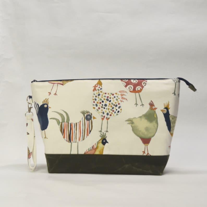 Harriott Chickens XL Zipper Knitting Project Craft Wedge Bag image 0