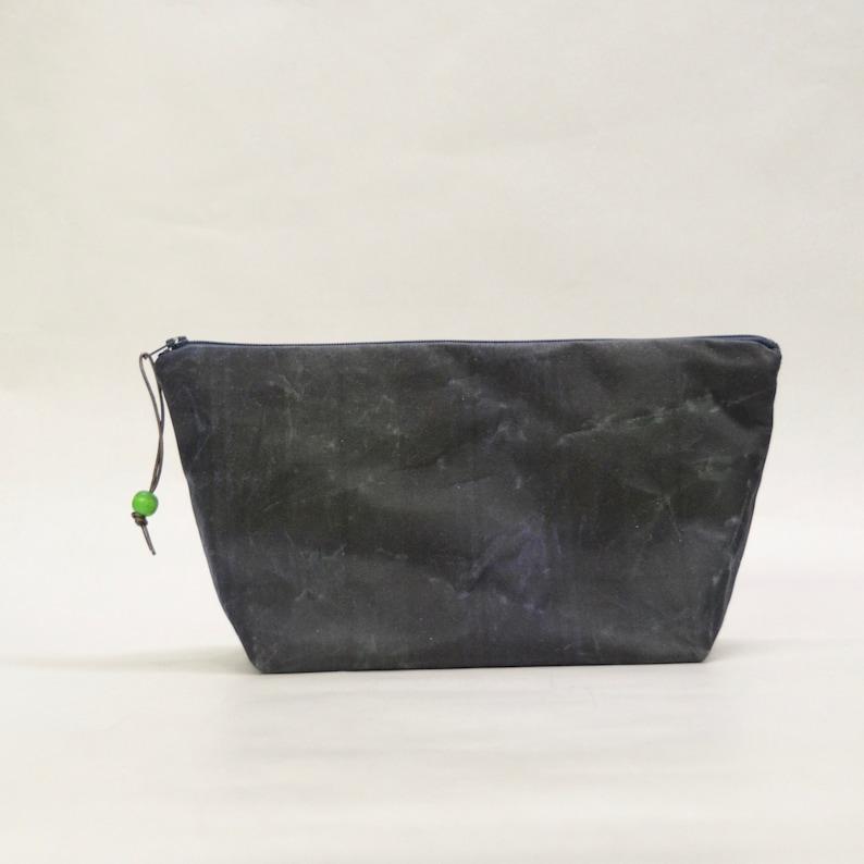 Blackwatch Plaid Waxed Canvas Medium Zipper Pouch Gadget Case image 0