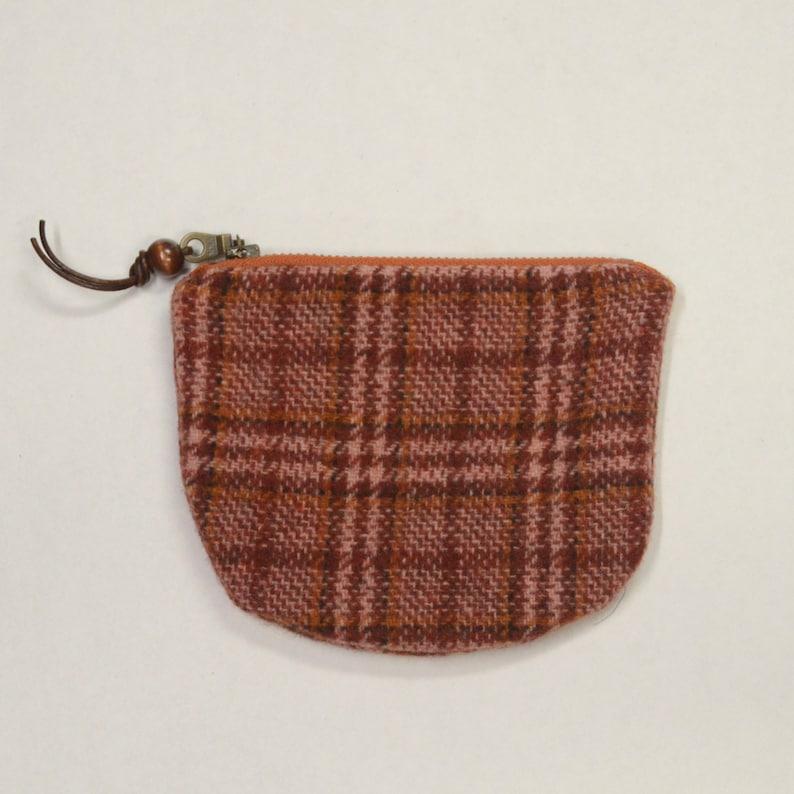 Pink Brick Wool Plaid Round Zipper Pouch / Coin Purse / Gadget image 0
