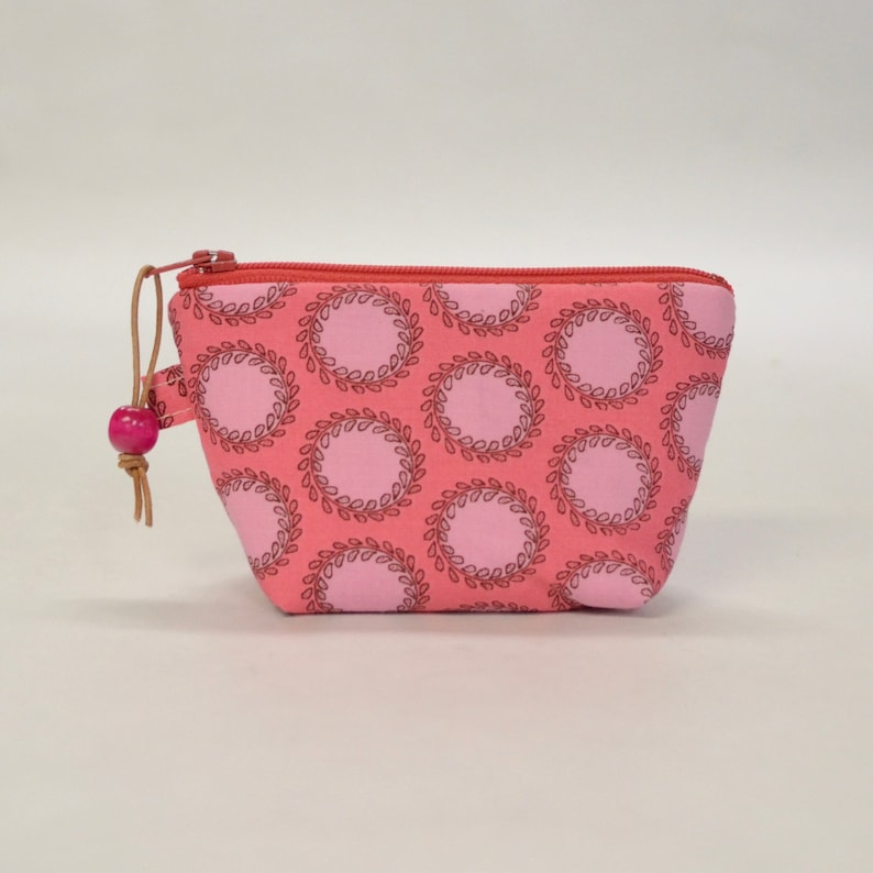 Pink Dots Small Padded Zipper Coin Purse Change Pouch Gadget image 0