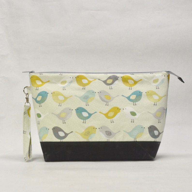 Birds XL Zipper Knitting Project Craft Wedge Bag with image 0