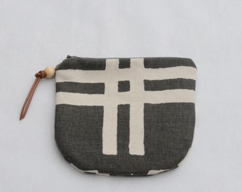 Weft Charcoal Padded Round Zipper Pouch / Coin Purse / Gadget / Cosmetic Bag - READY TO SHIP