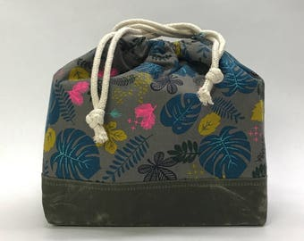Leaves Large Drawstring Knitting Project Craft Bag - READY TO SHIP