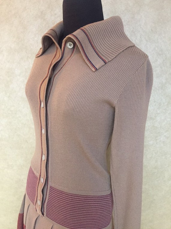 Vintage 1970s Italian Wool Drop Waist Striped Knit