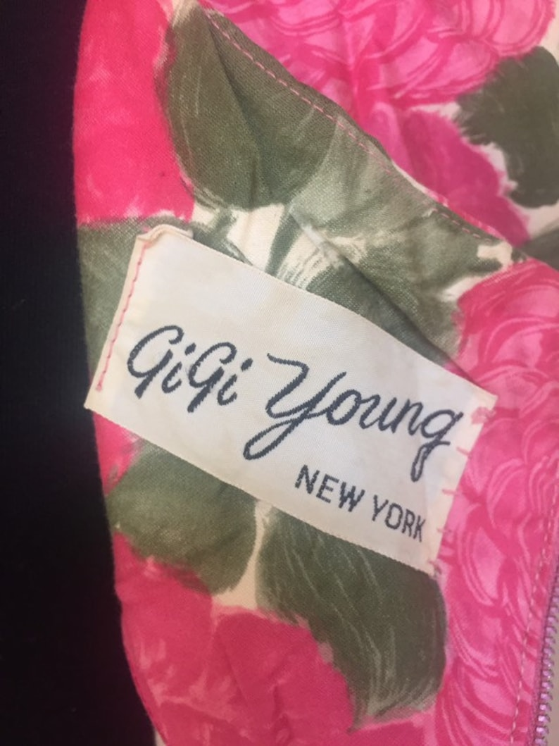 M 1960s Vintage Pink and Green Floral GiGi Young Label Cotton PinUp Dress