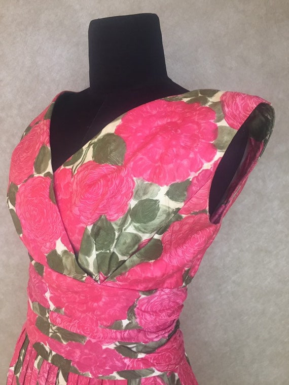 1960s Vintage Pink and Green Floral GiGi Young Lab