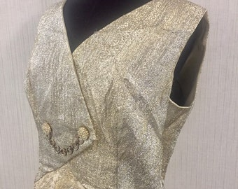 Vintage 1960s Silver and Gold Metallic Thread Cocktail Dress  M