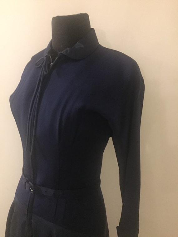 Vintage 1940s Navy Rayon Taffeta Zip Front Dress S