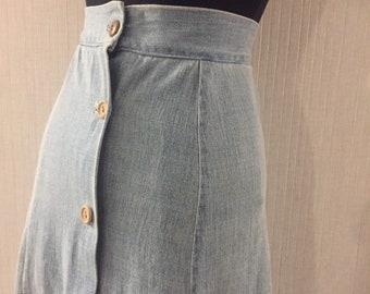Vintage 1970s Luxe Boho Hippie Denim with Patchwork Insert Maxi Skirt  XS