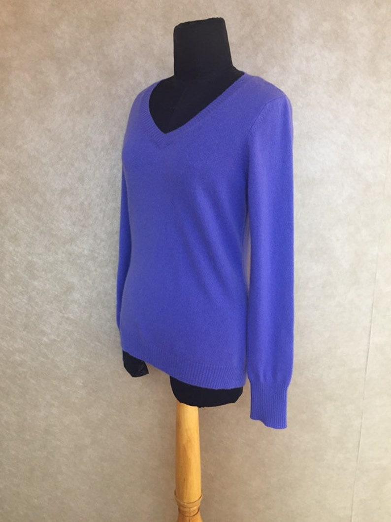 Vintage Modern Violet Blue V Neck Luxury Cashmere Sweater S