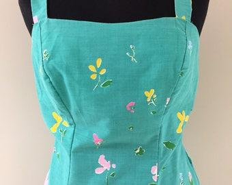 1970s Vintage Green Blue and Pink Graphic Floral Print Cotton Blend Adjustable Straps Sundress S M